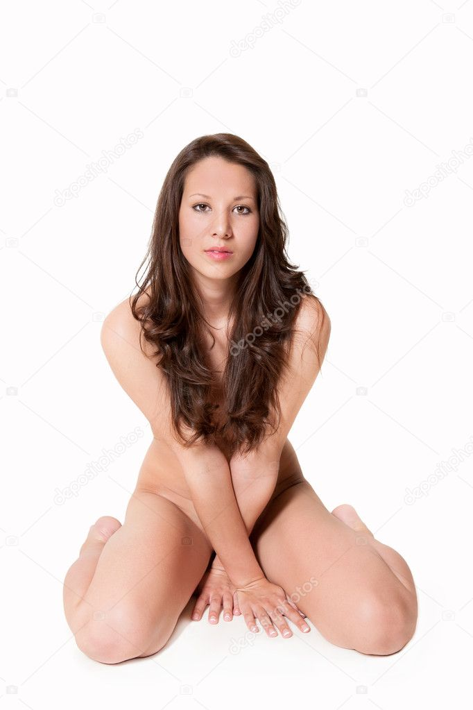 Portrait of a nude beautiful woman in front of white background — Stock Photo #11162842