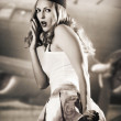 Portrait of pin up girl stewardess or air hostess — Stock Photo #10932254